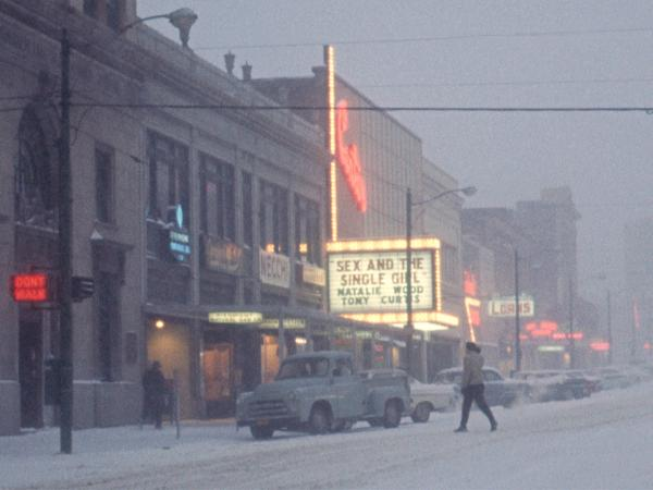 Snow In Downtown High Point Nc Jan 1965 Print by Bob Livengood