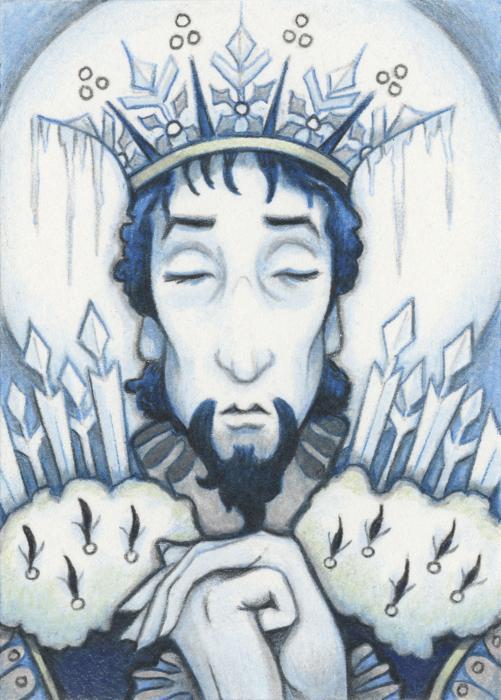 Snow King Slumbers Print by Amy S Turner