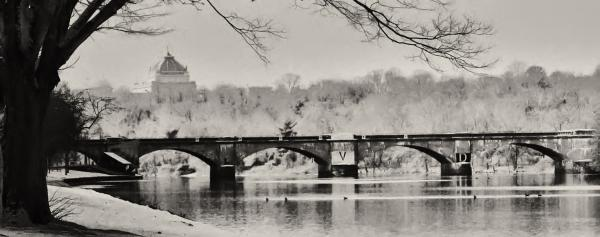 Snow On The River Print by Bill Cannon