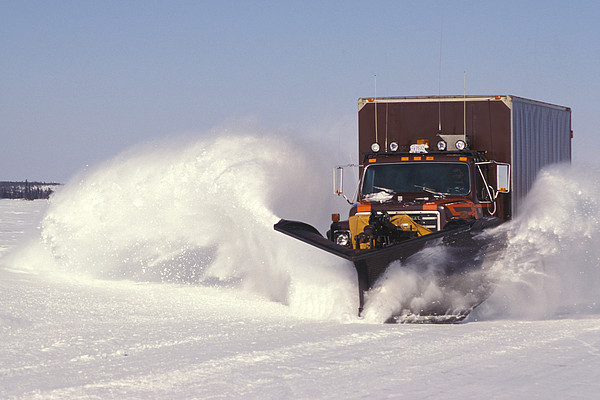 Snow Plowing Ice Roads In Northern Print by Nick Norman