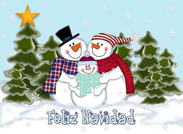 FONDOS DE NAVIDAD - FONDOS NAVIDEÑOS Snowman-family-christmas-card-feliz-navidad-linda-allan