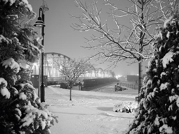 Snowy Bridge With Trees Print by Jeremy Evensen