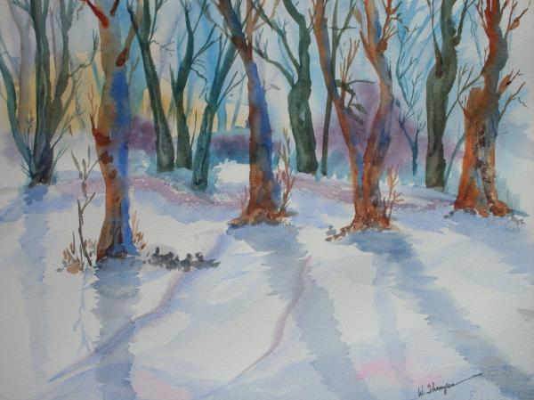 Snowy Shadows Painting  - Snowy Shadows Fine Art Print