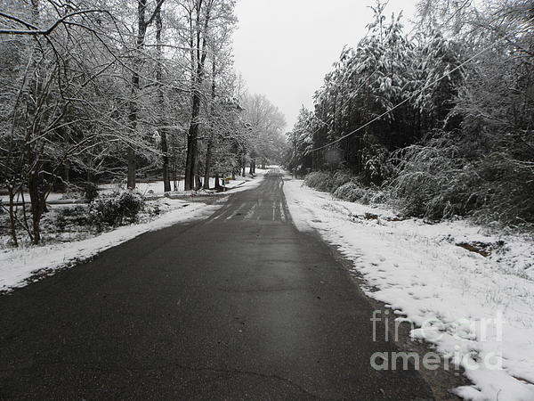 Snowy Street After A Winter Storm Print by Cindy Hudson