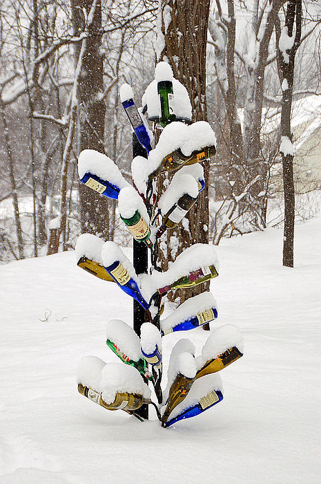 Snowy Wine Bottle Sculpture Print by Aimee L Maher Photography and Art