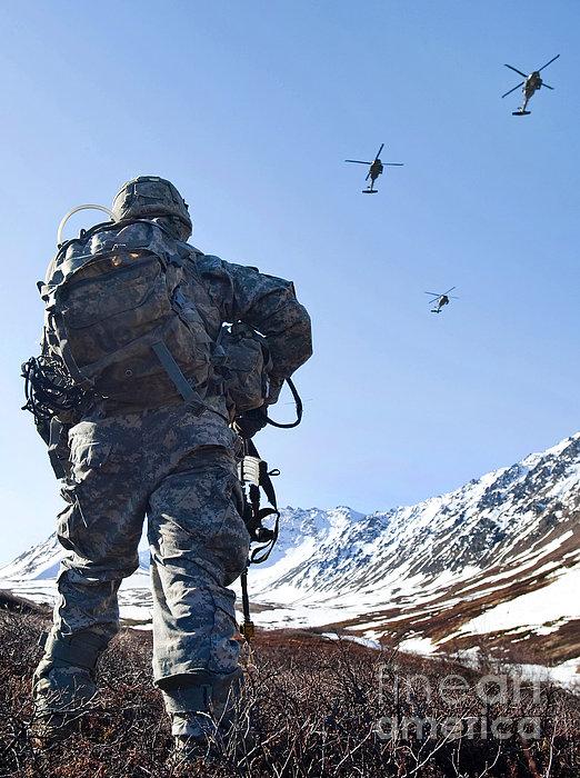 Soldier Patrols Through Alaska's Print by Stocktrek Images