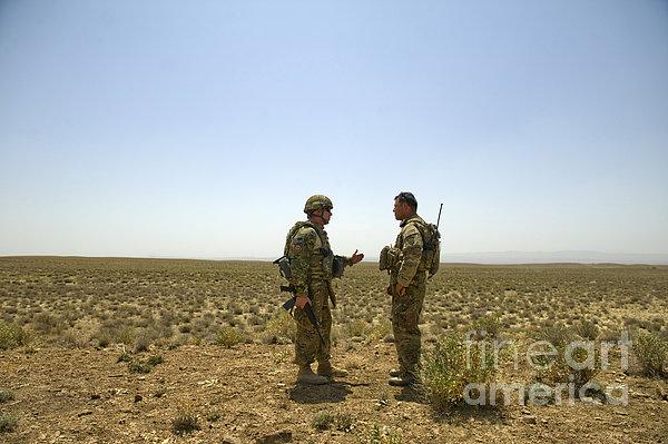 Soldiers Discuss, Drop Zone Print by Stocktrek Images