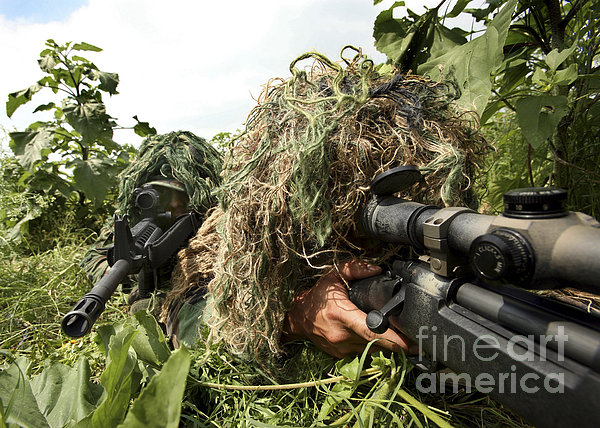 Soldiers Dressed In Ghillie Suits Print by Stocktrek Images