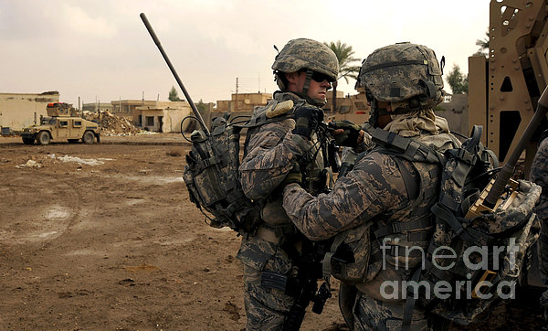 Soldiers Help One Another Print by Stocktrek Images
