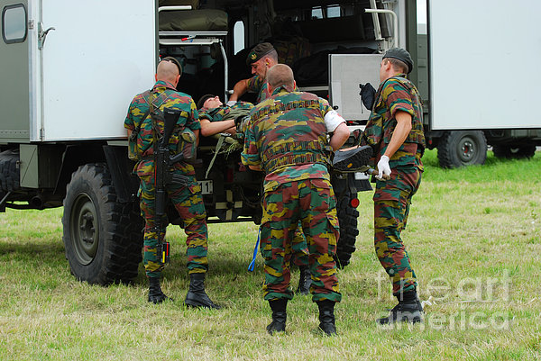 Soldiers Of A Belgian Infantry Unit Print by Luc De Jaeger
