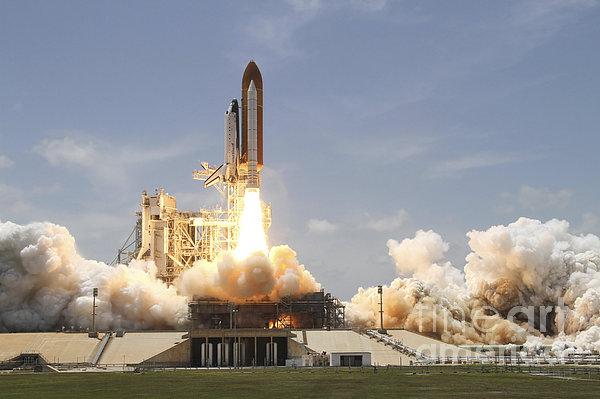 Space Shuttle Atlantis Lifting Print by Stocktrek Images