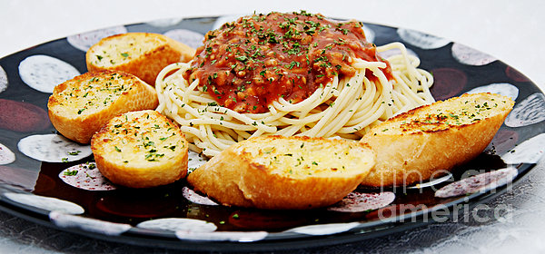 Spaghetti And Meat Sauce With Garlic Toast Pano Print by Andee Design