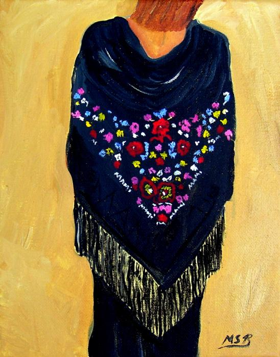 Spanish Shawl With Fringe Print by Maria Soto Robbins