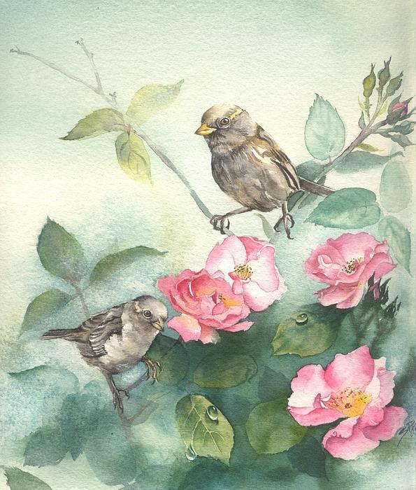 Sandra Phryce-Jones - Sparrows and Dog Rose