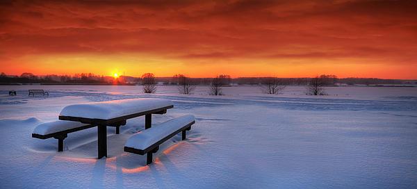 Spectaculat Winter Sunset Print by Jaroslaw Grudzinski