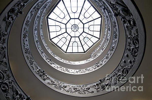Spiral Staircase In The Vatican Museums Print by Bernard Jaubert