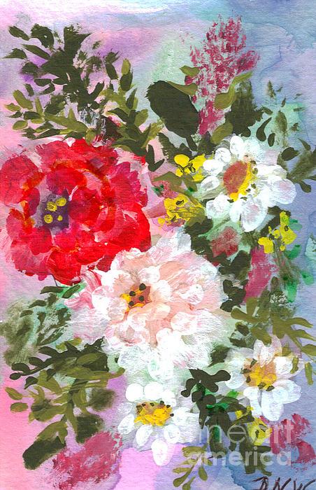 Splashy Flowers Print by Debbie Wassmann