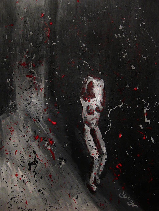 Splattered Nude Young Female In Gritty City Alley In Black And White And Red Print by M Zimmerman