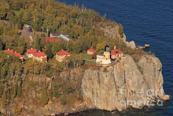 Split Rock Lighthouse Fall Aerial View Photograph