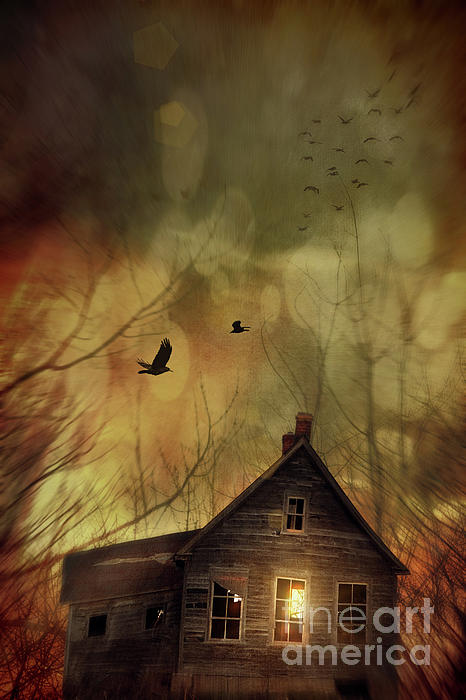 Spooky House At Sunset Print by Sandra Cunningham