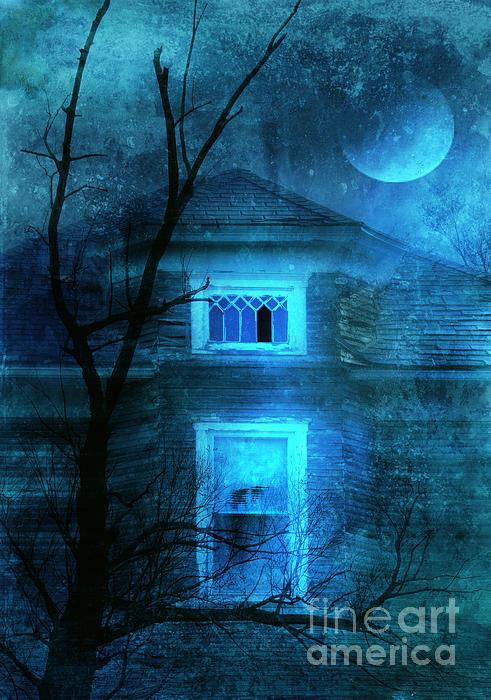 Spooky House With Moon Print by Jill Battaglia