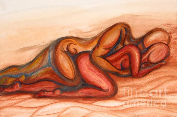 Spooning Mixed Media  - Spooning Fine Art Print