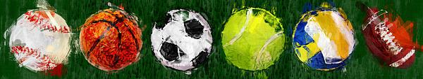 Sports Balls Abstract Print by David G Paul