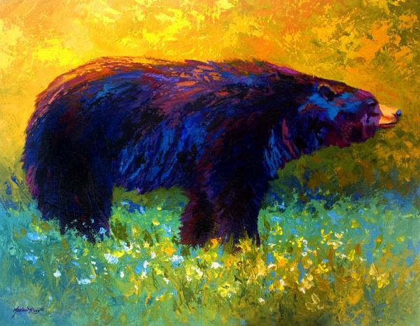 Spring Stroll - Black Bear Print by Marion Rose