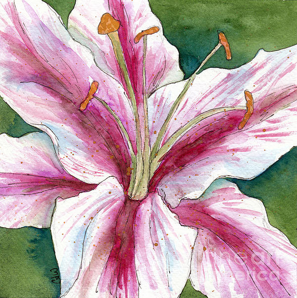 Cherilynn Wood - Square White and Pink Lily