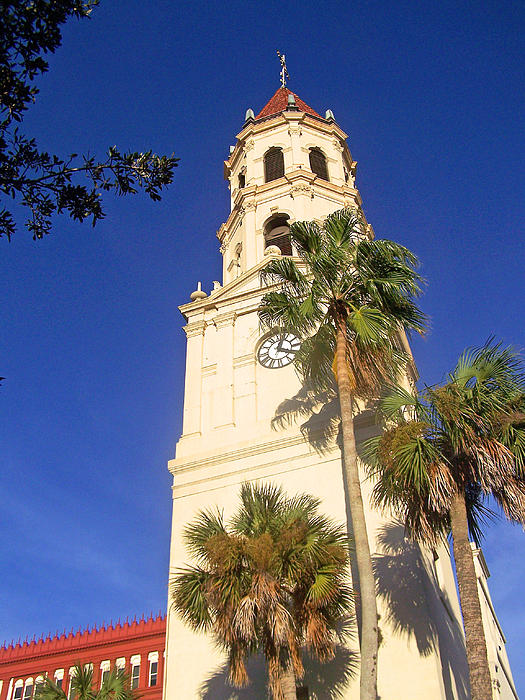 St. Augustine Church Clock Tower Print by Patricia Taylor