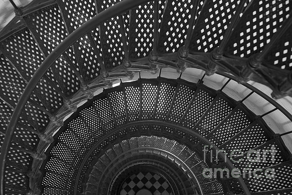 St. Augustine Lighthouse Spiral Staircase I Print by Clarence Holmes