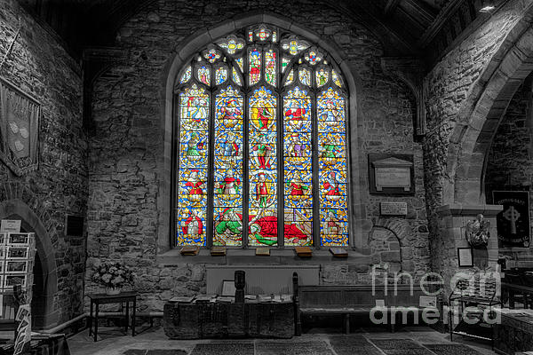 St Dyfnog Window Print by Adrian Evans