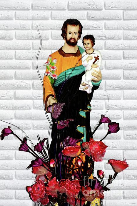 St Joseph Holding Baby Jesus - Catholic Church Qibao China Print by Christine Till