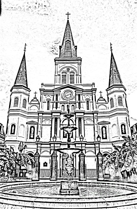 St Louis Cathedral And Fountain Jackson Square French Quarter New Orleans Photocopy Digital Art Print by Shawn O'Brien
