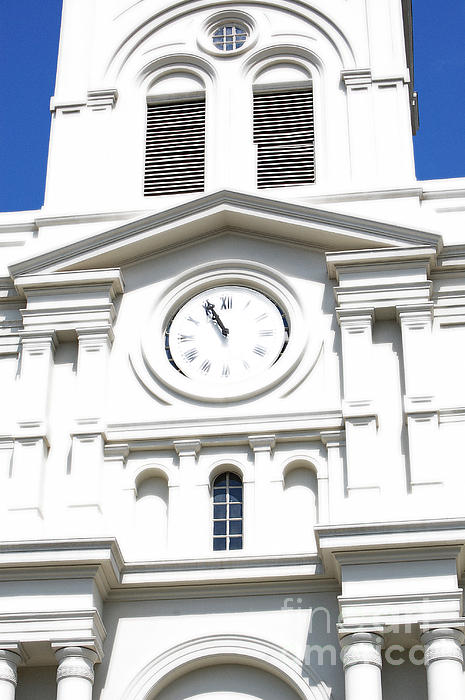 St Louis Cathedral Clock Jackson Square French Quarter New Orleans Diffuse Glow Digital Art Print by Shawn O'Brien