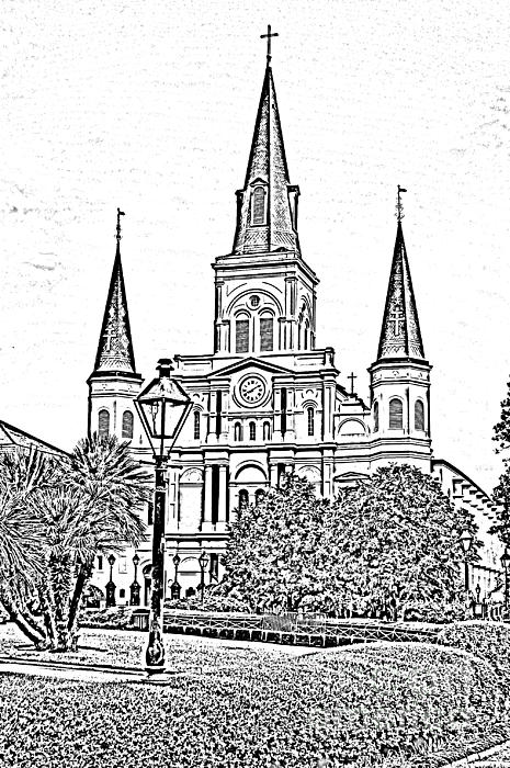 St Louis Cathedral Jackson Square French Quarter New Orleans Photocopy Digital Art Print by Shawn O'Brien