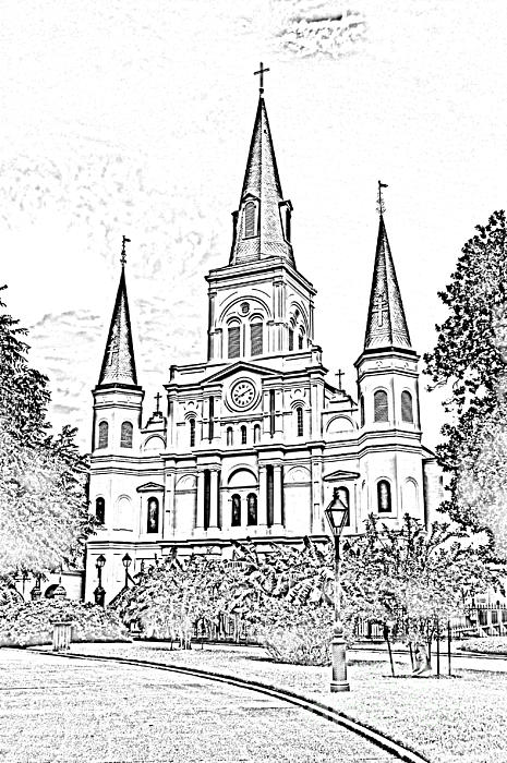 St Louis Cathedral Jackson Square French Quarter New Orleans Photocopy Digital Print by Shawn O'Brien