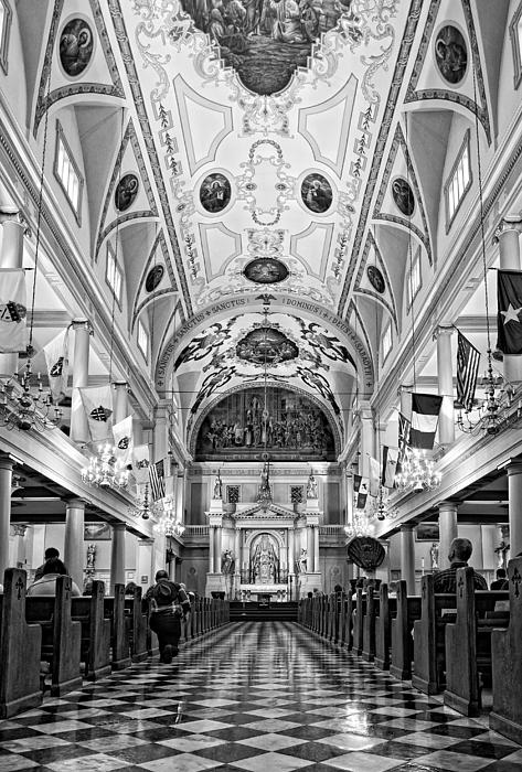 St. Louis Cathedral Monochrome Print by Steve Harrington