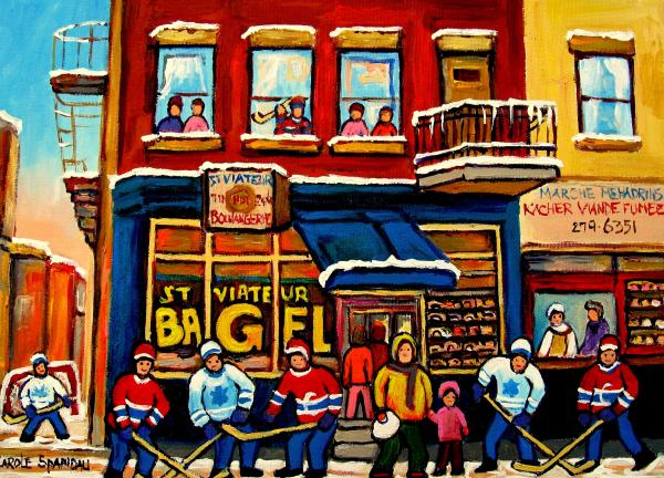St. Viateur Bagel Hockey Practice Painting  - St. Viateur Bagel Hockey Practice Fine Art Print