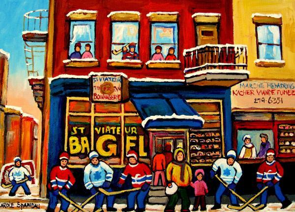 St. Viateur Bagel Hockey Practice Print by Carole Spandau