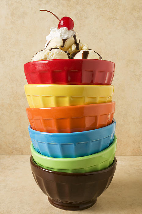 Stack Of Colored Bowls With Ice Cream On Top Print by Garry Gay