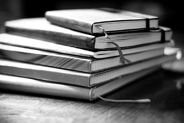 Stack Of Notebooks Print by FOTOGRAFIE melaniejoos