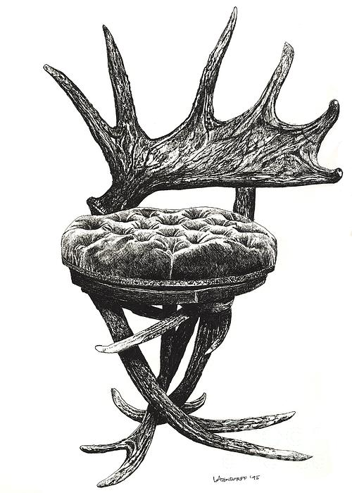Stag Antlers Chair Print by Lee-Ann Adendorff