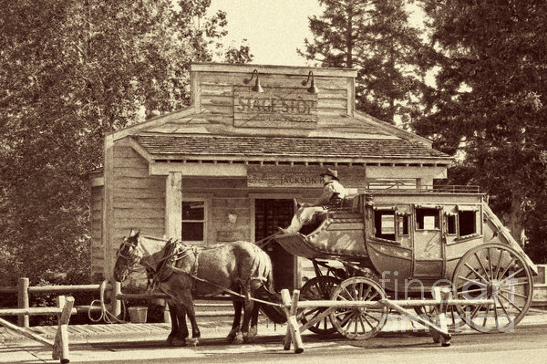 Stage Coach Stop - Jackson Hole Wy Print by Christine Till