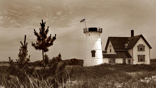 Stage Harbor Lighthouse Print by Skip Willits