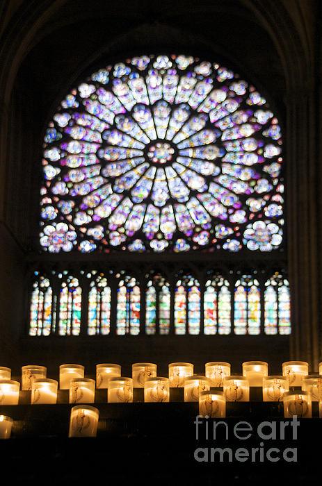 Stained Glass Window Of Notre Dame De Paris. France Print by Bernard Jaubert