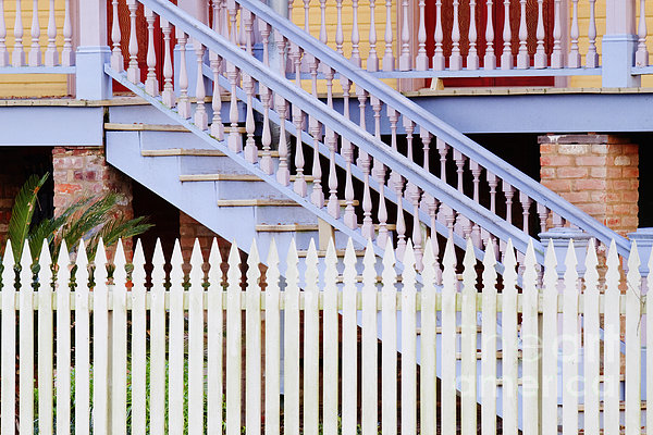Stairs And White Picket Fence Print by Jeremy Woodhouse