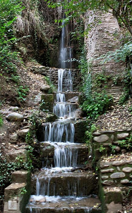 Stairway Waterfall Print by Lorraine Devon Wilke