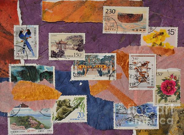 Stamps From China Print by Barbara Tibbets