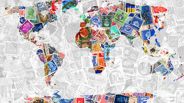 Stamps Of The World Map . V2 Print by Wingsdomain Art and Photography
